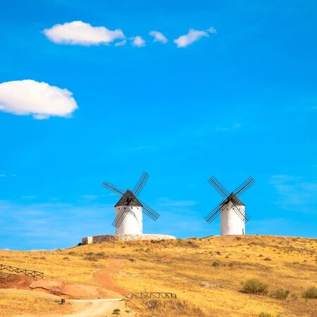 don: Cervantes Don Quixote windmills, rural green fields and blue sky in Consuegra  Castile La Mancha, Spain, Europe