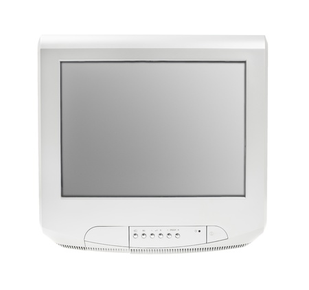 Old Retro Vintage Crt Television or Tv Cathode Monitor Display grey isolated on white background photo