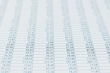 Business data report selective focus close up  Monthly stock stats spreadsheet  Blue toned