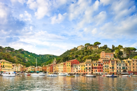 Portofino luxury landmark panorama  Village and yacht in little bay harbor  Liguria, Italy