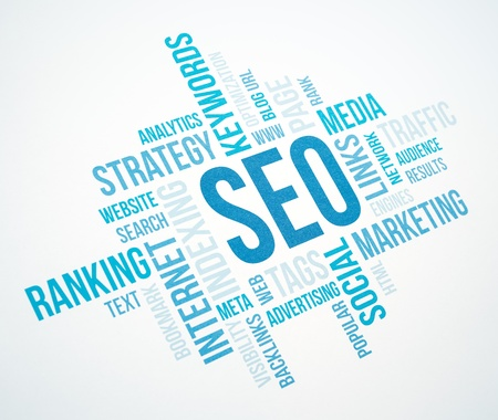 blue toned: Seo business, search engine optimazion, concept cloud chart  Blue Toned