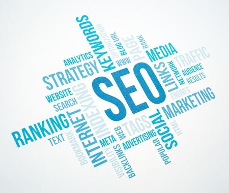 Seo företag, sökmotor optimazion, begrepp moln diagram Blå tonad Stockfoto