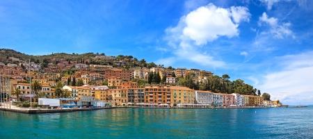 Porto Santo Stefano seafront promenade panorama, italian travel destination  Argentario, Tuscany, Italy  Stok Fotoğraf