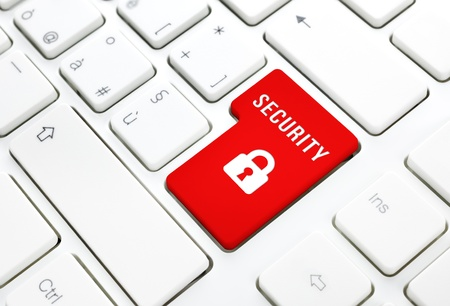 Säkerhet internet inloggning begrepp, röd enter-knappen eller nyckel på vit tangentbord