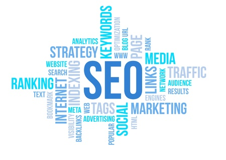 Seo business, search engine optimazion, concept cloud chart illustration
