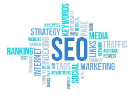 Seo företag, sökmotor optimazion, begrepp moln diagram illustration