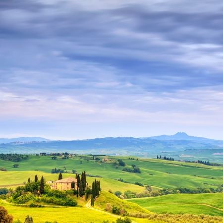 toscana: Tuscany, farmland and cypress trees country landscape, green fields  San Quirico Orcia, Italy, Europe  Stock Photo