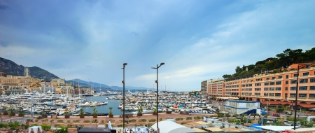 Monaco Montecarlo principality marina harbor panorama  Azure coast  France, Europe  photo