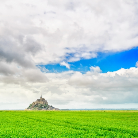 Mont Saint Michel monastery landmark and green field  heritage site  Normandy, France, Europe  photo