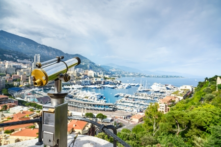 viewpoints: Monaco Montecarlo principality aerial view cityscape  Skyscrapers, mountains and marina  Azure coast  France, Europe