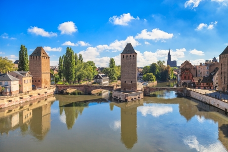 Strasbourg, medieval bridge Ponts Couverts and Cathedral, view from Barrage Vauban  Alsace, France