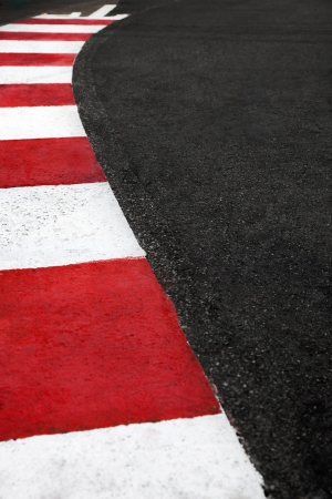 monaco: Motor race asphalt and curb on Monaco Montecarlo Grand Prix street circuit