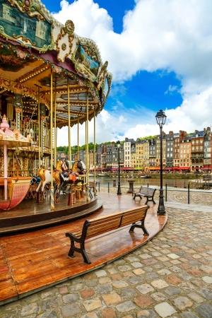 carousel: Carousel in Honfleur famous village landmark  Calvados region, Normandy, France, Europe