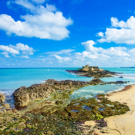 Saint Malo beach, Fort National and rocks during Low Tide  Brittany, France, Europe