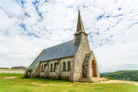 garde: Church Notre Dame de la Garde chapel, Etretat village, Normandy, France, Europe