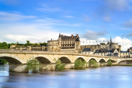 Amboise medieval castle or chateau and bridge on Loire river  France, Europe