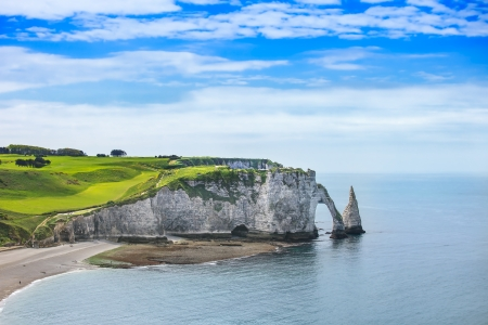 Etretat Aval cliff, rocks and natural arch landmark and blue ocean  Aerial view  Normandy, France, Europe  Imagens