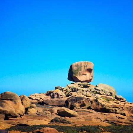 granite park: Tregastel, the dice or le de rock in pink granite coast  Armor coast les rochers, Brittany, France  Europe