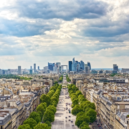 la defense: La Defense business area, La Grande Armee avenue  View from Arc de Triomphe  Paris, France, Europe  Stock Photo