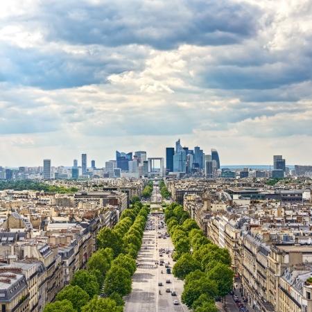 Zakenwijk La Defense, La Grande Armee laan Uitzicht vanaf Arc de Triomphe in Parijs, Frankrijk, Europa Stockfoto