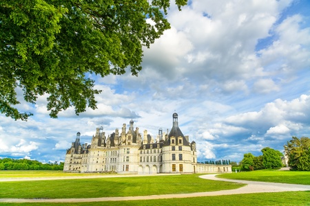 chambord: Chateau de Chambord, royal medieval french castle and tree  Loire Valley, France, Europe  Unesco heritage site  Editorial