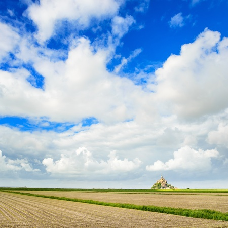 Mont Saint Michel monastery landmark and field  photo