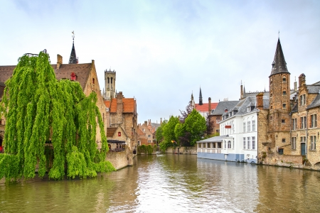 Bruges, Rozenhoedkaai water canal view Belgium, Europe
