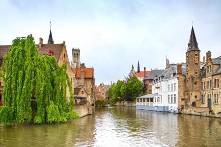 canal houses: Bruges, Rozenhoedkaai water canal view Belgium, Europe
