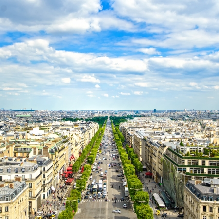champs elysees quarter: Paris, panoramic aerial view of Champs Elysees boulevard  France, Europe  Stock Photo