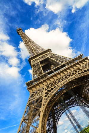 Eiffel Tour or Tower architecture landmark  Wide angle view  Paris, France, Europe  photo