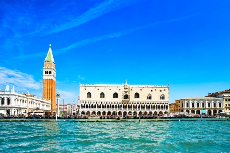 piazza san marco: Venice landmark, view from sea of Piazza San Marco or st Mark square, Campanile and Ducale or Doge Palace  Italy, Europe
