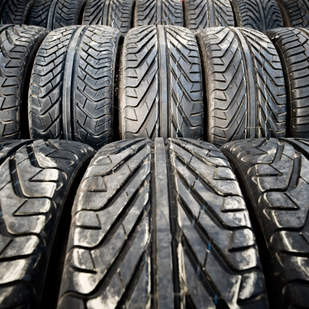 Used old car tires or junk detail pattern, background or texture photo