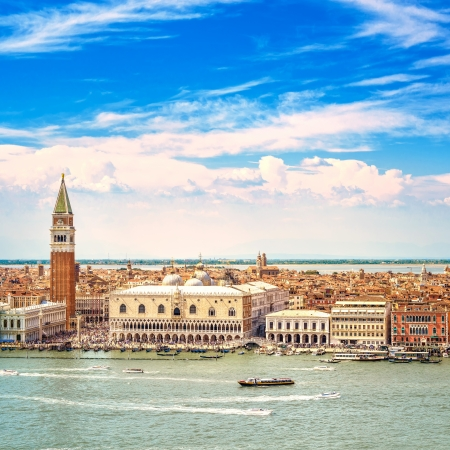 Venice landmark, aerial view of Piazza San Marco or st Mark square, Campanile and Ducale or Doge Palace  Italy, Europe  스톡 콘텐츠