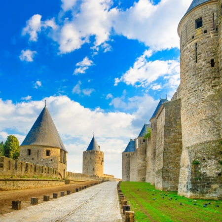 cite: Carcassonne Cite, medieval fortified city on sunset  Languedoc Roussillon, France, Europe