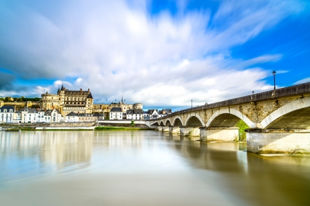 real renaissance: Amboise medieval castle or chateau and bridge on Loire river  France, Europe  Unesco site  Stock Photo