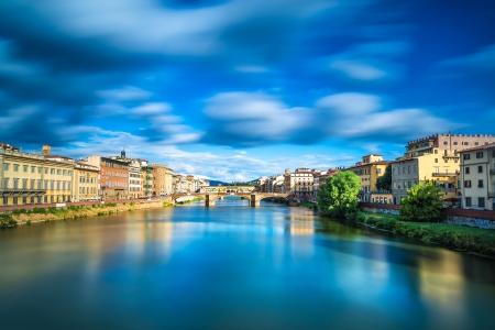 trinita: Florence or Firenze, Santa Trinita and Old Bridge landmark on Arno river, sunset landscape with reflection  Tuscany, Italy  Long exposure