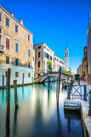 Venice cityscape, San Giorgio dei Greci water canal and church campanile  Long Exposure photography  Italy, Europe  photo