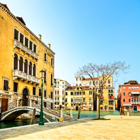 Venice cityscape in Campo San Vio square, bridge, tree and traditional buildings on water grand canal  Italy, Europe