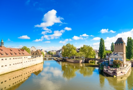 Strasbourg, towers of medieval bridge Ponts Couverts and reflection, Barrage Vauban  Alsace, France  Stock Photo