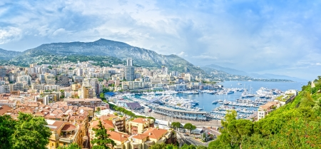 Monaco Montecarlo principality aerial view cityscape  Skyscrapers, mountains and marina  Azure coast  France, Europe