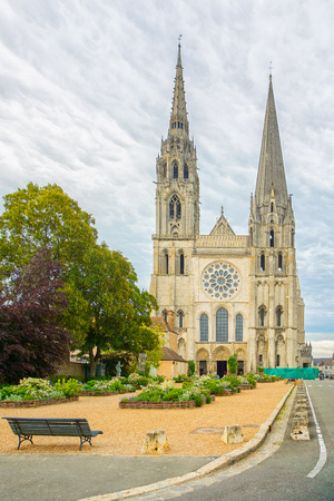 chartres: Chartres Notre Dame cathedral medieval gothic church landmark front view, France
