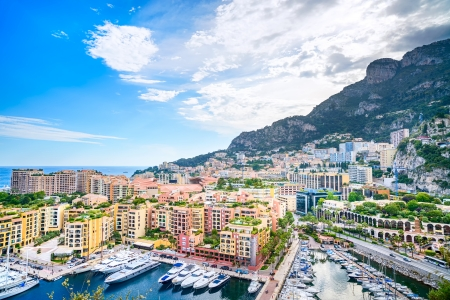 Monaco Montecarlo principality aerial view cityscape  Skyscrapers, mountains and marina  Azure coast  France, Europe  photo