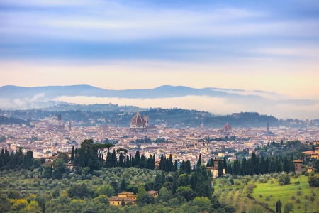 Florence or Firenze aerial foggy morning cityscape  Panorama view from Fiesole hill  Palazzo Vecchio and Duomo Cathedral  Tuscany, Italy