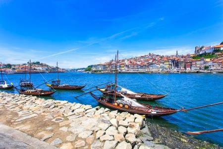 oporto: Oporto or Porto city skyline, Douro river and traditional boats  Portugal, Europe  Stock Photo