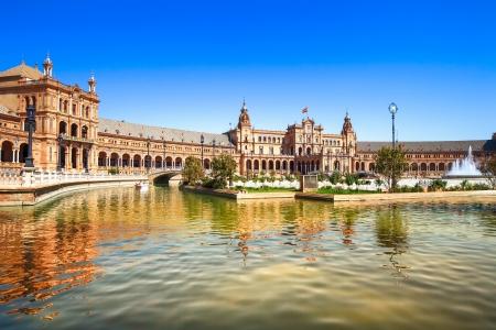 Plaza de Espana Spanien Square Sevilla, Andalusien, Spanien, Europa Traditionell bro detalj Stockfoto