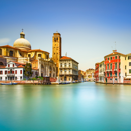 Venice grand canal, San Geremia church landmark  Italy, Europe  Long exposure photography  photo