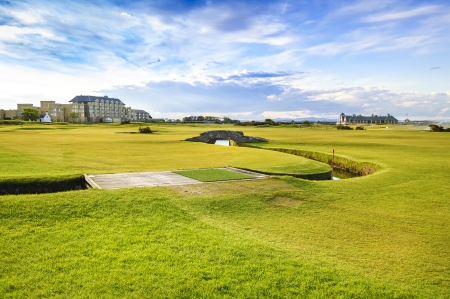 Golf St Andrews old course links, fairway and stone bridge on Hole 18  Fife, Scotland, Uk, Europe  Stock Photo