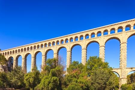 Roquefavour historic old aqueduct landmark Ventabren, Aix en Provence, France, Europe