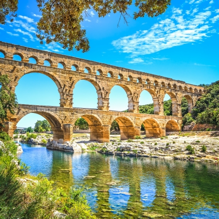 Roman aqueduct Pont du Gard, Located near Nimes, Languedoc, France, Europe