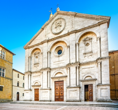 Pienza, Duomo Santa Maria Assunta Cathedral church facade in Tuscany, Italy, Europe photo